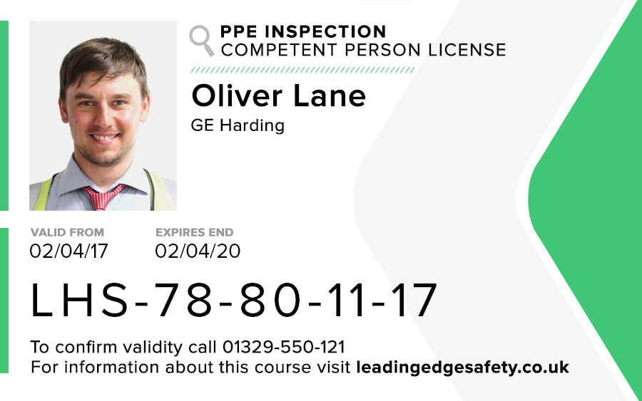 PPE Inspection Competent Person Card