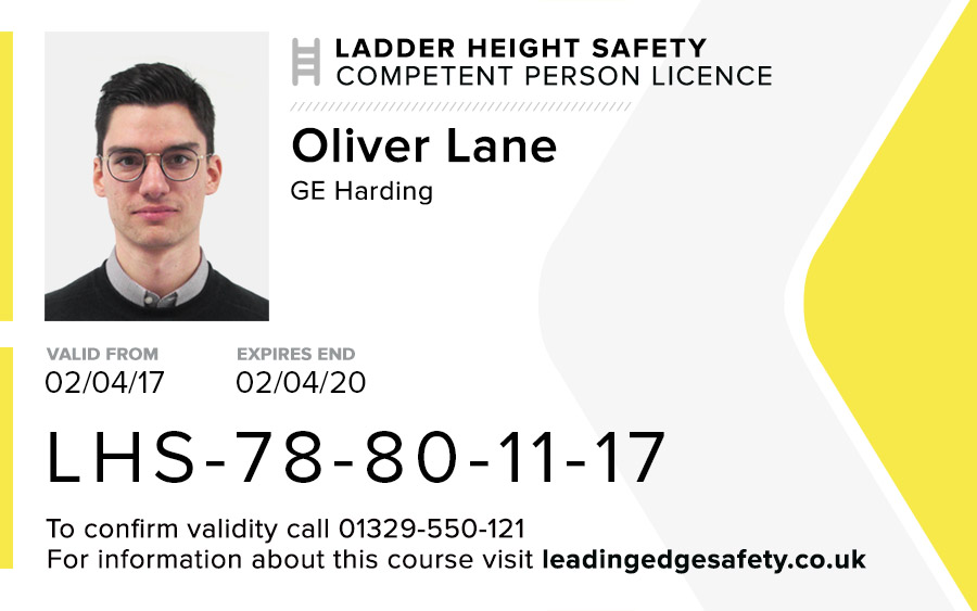 Ladder Height Safety Card