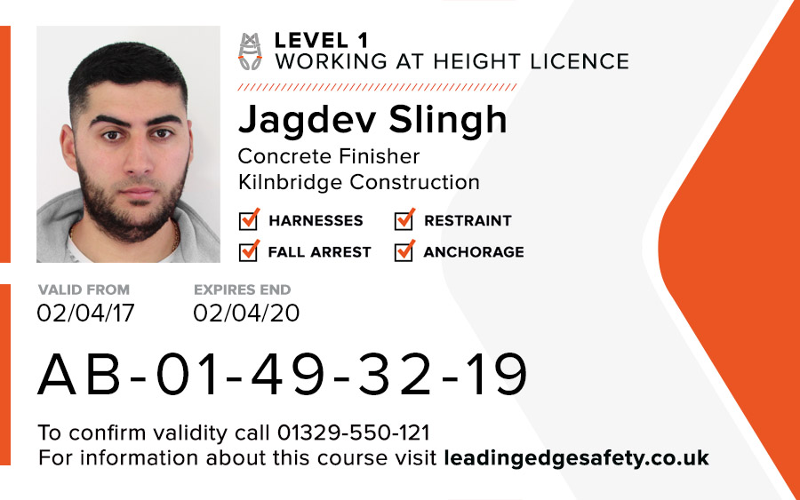Level 1 Working At Height Card