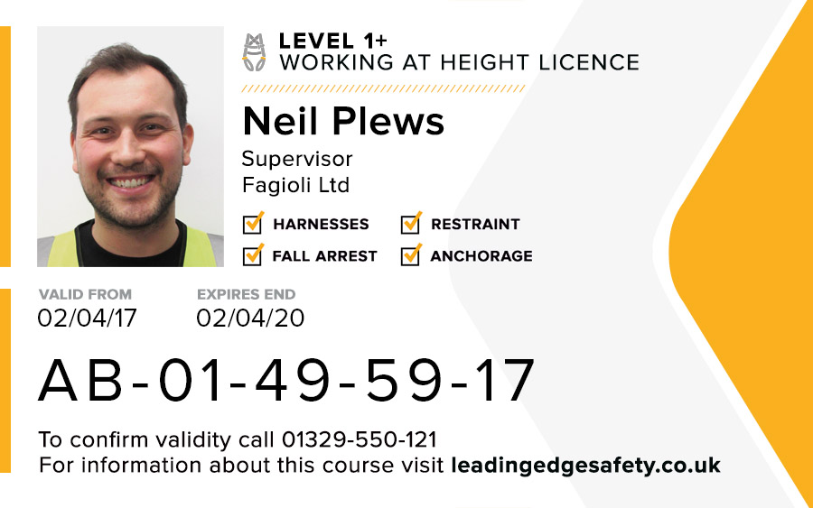 Level 1+ Supervisors Working At Height Card